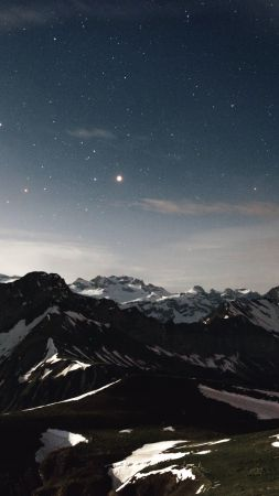 mountains, 4k, 5k wallpaper, snow, stars (vertical)