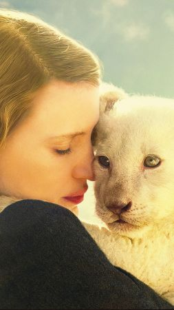 The Zookeeper's Wife, Jessica Chastain, lion (vertical)