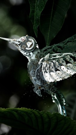 Hummingbird, Сolibri, steampunk, flower, leaves, green, drops, flying, bird, nectar, garden, nature, mechanical (vertical)