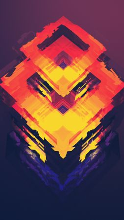 abstract, polygon, 4k, 5k, iphone wallpaper, android wallpaper, orange, red (vertical)