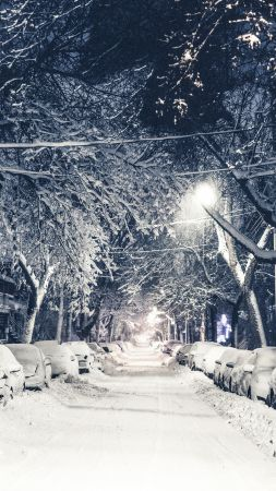 New York, winter, snow, street