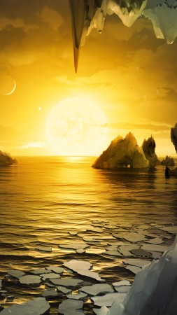 TRAPPIST-1, exoplanet, ocean, ice (vertical)