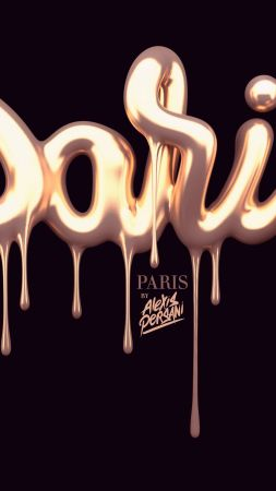 typography, 5k, 4k wallpaper, font, paris, gold, abstract, shape, 3D (vertical)