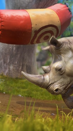 Rhino, green grass, nature, waterfall, grey, zoo tycoon, animal (vertical)