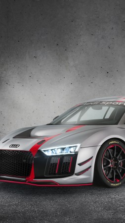 Audi R8 LMS GT4, sport car, gray, 2017 New York Auto Show (vertical)