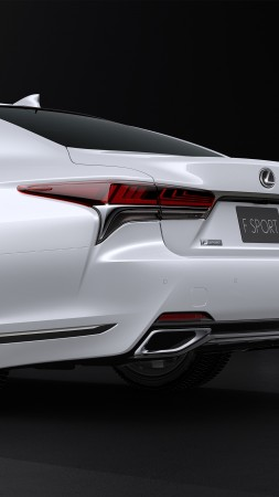 Lexus LS 500 F Sport, white, 2017 New York Auto Show (vertical)