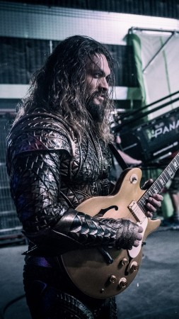 Jason Momoa, guitar, Aquaman, Justice League (vertical)
