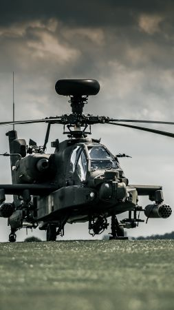 AH-64D Apache, attack helicopter, Royal Air Force, dark sky (vertical)