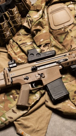 FN SCAR, assault rifle, modular rifle, FN Herstal, hand grenade, military, ammunition, uniform (vertical)