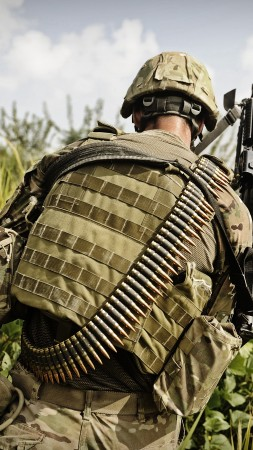 MK-48, soldier, mod.0, Mark 48, 7.62×51mm NATO, machine gun, gunner, ammunition belt, greens (vertical)