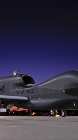RQ-4, Global Hawk, Northrop Grumman, drone, Surveillance UAV, UAV, USA Army, U.S. Air Force, airdrome, sunset (vertical)