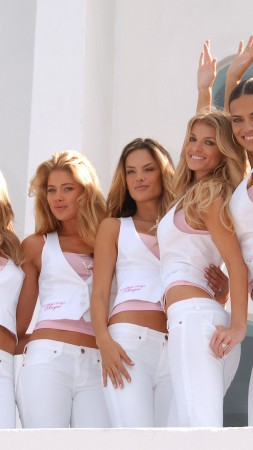 Miranda Kerr, Heidi Klum, Doutzen Kroes, model, Victoria's Secret Angel, white, suit, group photo, smile, model (vertical)