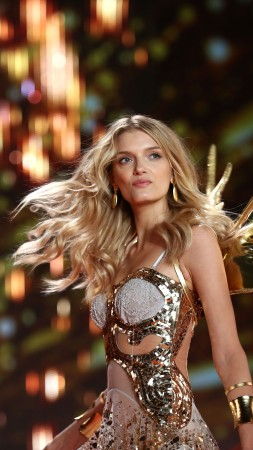 Lily Donaldson, Victoria's Secret Angel, model, underwear, fashion show, wings, corset, gold
