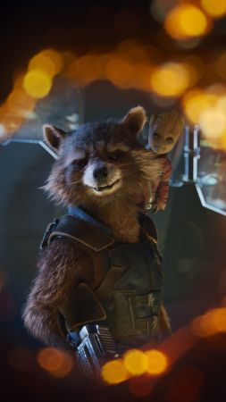 Guardians of the Galaxy Vol. 2, Baby Groot, Rocket, 4k (vertical)