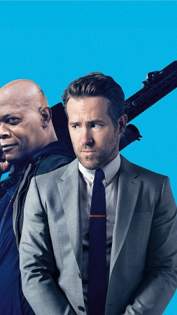 The Hitman's Bodyguard, Samuel L. Jackson, Ryan Reynolds, 4k (vertical)