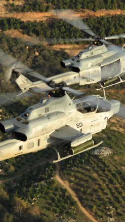 Viper, AH-1Z, Bell, attack helicopter, U. S. Marine, Zulu Cobra, flight, field, sky (vertical)