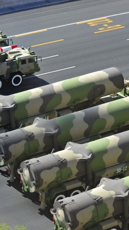 DF-21, missile, DF-21, parade, Dong-Feng, MRBM, People's Liberation Army, China, weapon (vertical)