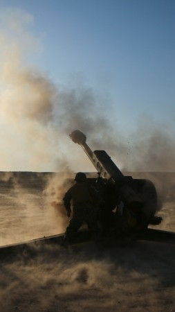 D-30, howitzer, 2A18, 122-mm, artillery, weapon, firing, desert, sand