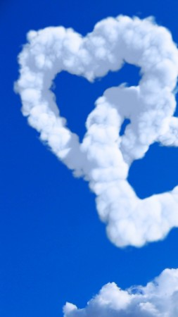 love image, heart, HD, clouds (vertical)