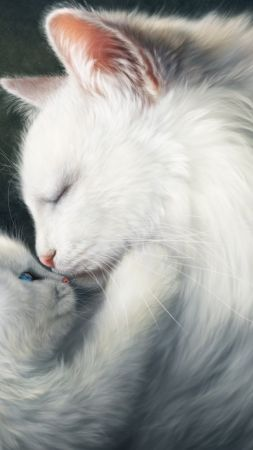 love image, cats, HD (vertical)