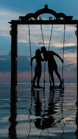 love image, 5k, kiss, sunset, sea (vertical)