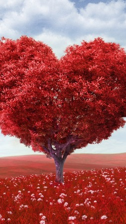love image, heart, 4k, tree (vertical)