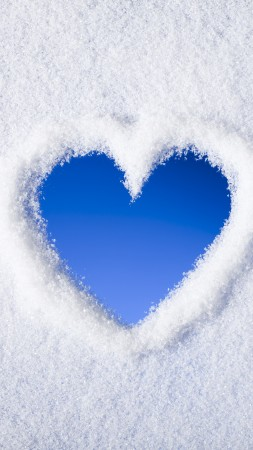 love image, heart, , snow, 4k (vertical)