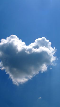 love image, heart, clouds, 4k (vertical)