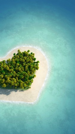 love image, heart, HD, island, ocean (vertical)