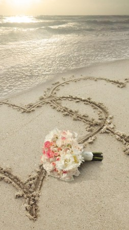 love image, heart, 8k, beach (vertical)