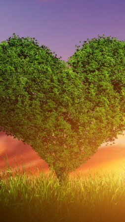 love image, heart, tree, 5k (vertical)