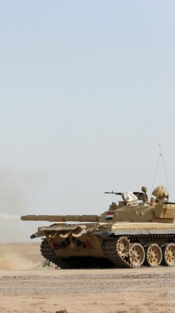 T-72B3, tank, second-generation, firing, desert (vertical)