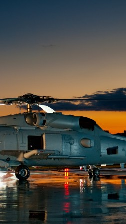 SH-60, Sikorsky, MH-60, Sea Hawk, multimission maritime helicopter, U.S. Navy, MEDEVAC, sunset (vertical)