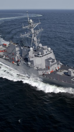 USS Jason Dunham, DDG-109, Arleigh Burke-class, destroyer, U.S. Navy, sea, maneuver (vertical)