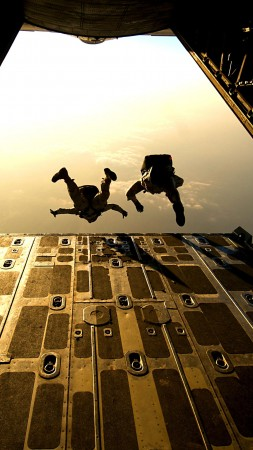 landing force, airlift delivery, soldier, parachute, military, aircraft, sky (vertical)