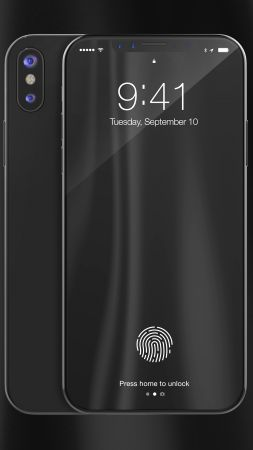 iPhone X, black, 3D, leaked, WWDC 2017, 4k (vertical)