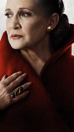 Star Wars: The Last Jedi, Carrie Fisher, 8k (vertical)