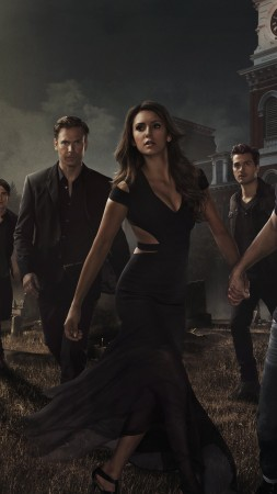 The Vampire Diaries, Nina Dobrev, Ian Somerhalder, Paul Wesley, poster, TV Series, 8k (vertical)