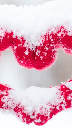 love image, heart, snow, 4k (vertical)