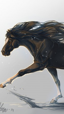 horse, hooves, 5k, 4k wallpaper, mane, galloping, black, white background, art,  (vertical)
