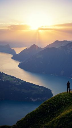 Lake Lucerne, Switzerland, landscape, lake, mountain, 4k (vertical)