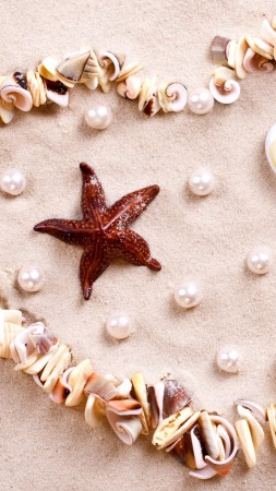 love image, heart, starfish, shell, shore, 4k (vertical)