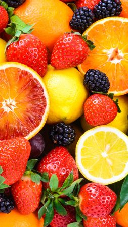 fruit, apple, orange, strawberry, lemon, blackberry, 5k (vertical)