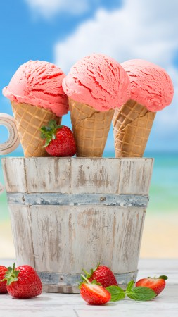 ice cream, strawberry, anchor, delicious, 8k (vertical)