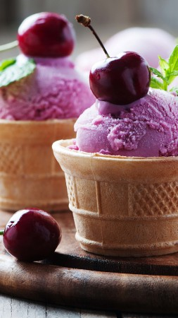 ice cream, cherries, delicious, 4k (vertical)
