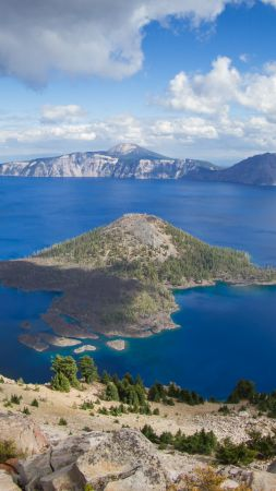 Crater Lake, USA, mountain, nature, 4k (vertical)