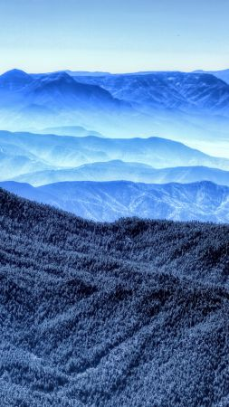 mountains, blue, 4k (vertical)