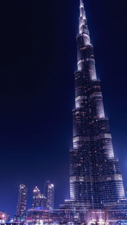 Khalifa Tower, Dubai, UAE, 4k (vertical)