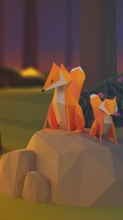 fox, low poly, 3d, forest (vertical)