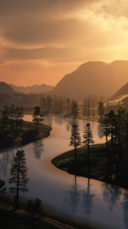 forest, mountains, sunset, river, HD (vertical)